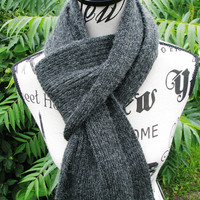 knit scarf, scarf for men, Handmade item, knitted scarf, cashmere scarf, unisex scarf, wool scarf, gray scarf, Mohair scarf,stylish scarf