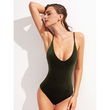 Wave In Deep Swimsuit - Army Green