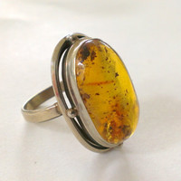 Vintage Amber Sterling Ring Size 7