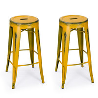 Metal Counter Bar Stools Antique-Style Yellow 30-inch (Set of 2)
