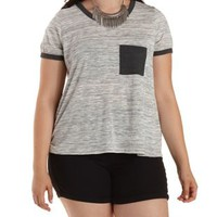 Plus Size Space Dye Ringer Pocket Tee