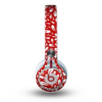 The Red Vector Floral Sprout Skin for the Beats by Dre Mixr Headphones