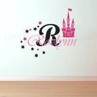 Princess personalized wall decal, castle decal, wall sticker, decal, wall graphic, vinyl decal, vinyl graphic wall decal, name decal