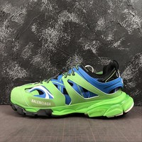 Balenciaga Track Trainers In Green And Blue Mesh And Nylon Sneakers - Best Online Sale