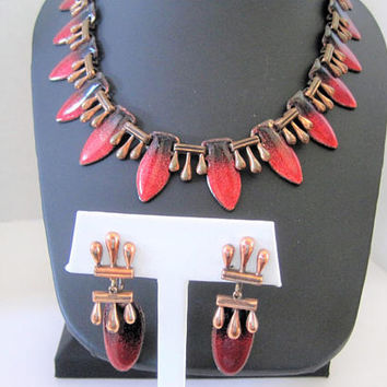 Matisse Necklace Set, Red Enamel on  Copper,  50's Renoir Matisse Necklace Earrings