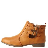Bamboo Belted Chelsea Boots by Charlotte Russe - Chestnut