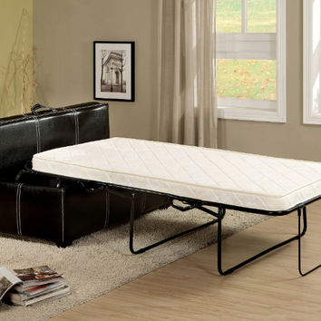 Furniture of america CM4703BK Apolline black finish leatherette twin bed pull out ottoman bench