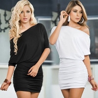 Women's One Shoulder Mini Dresses Cocktail Party Slim Bandage Bodycon Wrap Dress [4905487684]