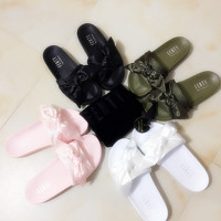 PUMA fenty rihanna silk slides sneakers spring  (10-color) Bow Slide Sandals Shoes Full color