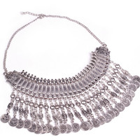 "Hippie Boho Necklace ""Ethnic Chic long"" Oriental silver coin"