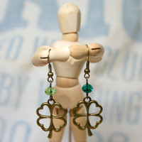 Antique Bronze Four Leaf Clover Earrings with Green Accent Beads Perfect for St. Patrick's Day