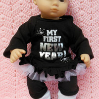 """AMERICAN GIRL Bitty Baby Clothes """"Happy New Year"""" (15 inch) doll outfit  dress, leggings, booties/ socks, and headband hair clip New Year's"""