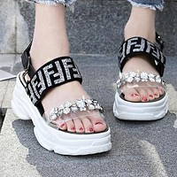 FENDI Hot Sale Fashion Women Chic Diamond Thick Sole Sandals Shoes Silvery