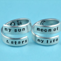 my sun&stars/moon of my life - Spiral Rings Set, Hand stamped Aluminum Rings, Forever Love, Friendship