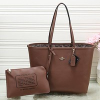 COACH Women Shopping Leather Tote Handbag Shoulder Bag Set Two Piece