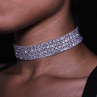 Silver Diamond Choker Necklace