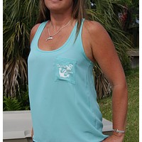 Anchor Racerback Tank Top with Pocket - Aqua