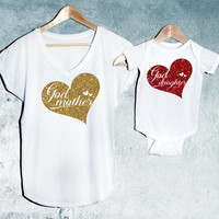 God Mother & God Daughter bodysuit or T-shirt Set of 2, White, Mama V-Neck T-shirt, Baby T-shirts or bodysuit, Baby shower gift