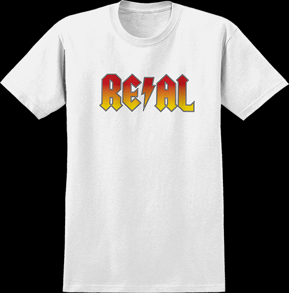 Image of Real Deeds Highway To Hell Tee Small White/Red Yel Fade