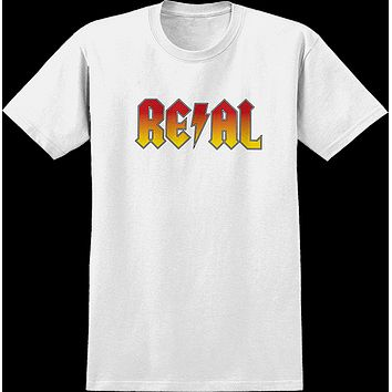 Real Deeds Highway To Hell Tee Small White/Red Yel Fade