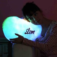 CrazyPomelo Colorful Love Plush Luminous Music Pillow For Girls Valentines Gift (Pink)