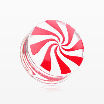 A Pair of Peppermint Candy Swirl Clear UV Double Flared Ear Gauge Plug