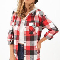 FOREVER 21 Hooded Plaid Flannel Red/Black