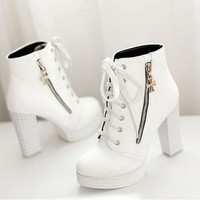 New 2015 womens casual Korean thick high-heeled lace Martin boots Waterproof boots = 1945939716