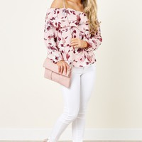 Hearts And Flowers Pink Print Off The Shoulder Top