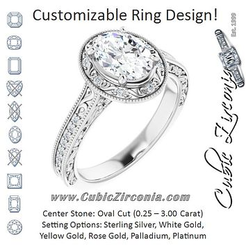 Cubic Zirconia Engagement Ring- The Eowyn (Customizable Vintage Artisan Oval Cut Design with 3-Sided Filigree and Side Inlay Accent Enhancements)