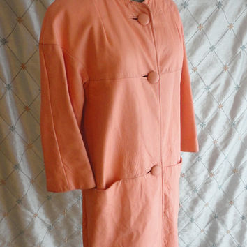 ON SALE 60s Coat // Vintage 1960s Salmon Pink Leather Coat by Romay Paris Rome London New York Size M As-Is
