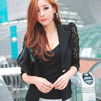 Floral Sheer Lace Long Sleeve Notched Collar Suit Jacket