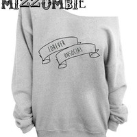 GRUNGE ANTI SOCIAL  off the  shoulder sweater, loose fit oversized   mizzombie