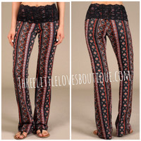Lace banded yoga pants : New Pattern