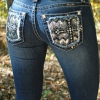 Miss Me Sequin Studded Cross Jeans