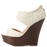 Ivory Crocheted Lace Two-Piece Platform Wedges by Charlotte Russe