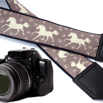 White Horses camera strap. DSLR / SLR Camera accessories. Strap for nikon, canon, sony, panasonic, and other cameras. Great gift.