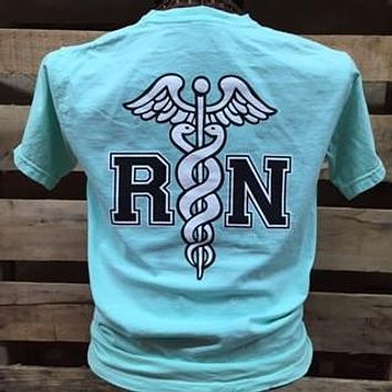 Southern Chics RN Registered Nurse Nurses Comfort Colors Chalky Mint Girlie Bright T Shirt