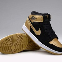 DCCKY4E Nike Air Jordan Retro  Black  & Gold  Men Training Sports Basketball Shoes