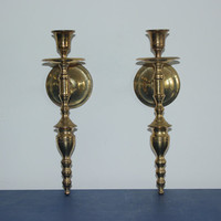 Pair of vintage brass sconces - Wall decor, candlestick sconces, brass decor, gold decor, candle holders
