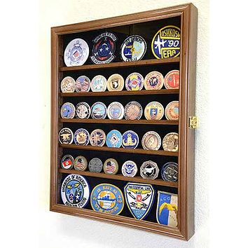 Challenge Coin/Medals/Pins/Badges/Ribbons/Insignia/Buttons Chips Combo Display Case Box Cabinet (Walnut Finish)