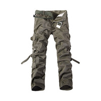 Fashion Mens Work Trousers Military Army Cargo Camo Combat Multi-pocket Pants   Army green