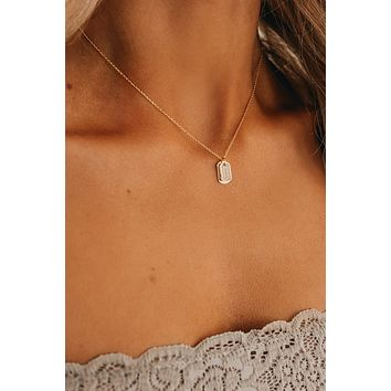 Tag You're It Charm Necklace (Gold)