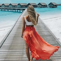 Fashion Elastic Waist High Slit Ruffle Maxi Skirt