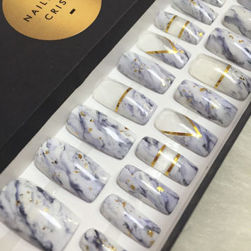 White Marble Press On Nails in choice of shape Stiletto Coffin Long Square Nails   Fake Nails   False Nails   Handpainted Nail Art Design