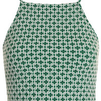 '90s Tile Print Cropped Cami - Green