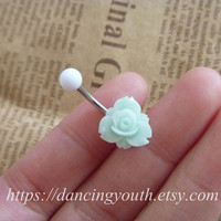 Beatiful Resin Flower Belly Button Ring, Belly Ring,