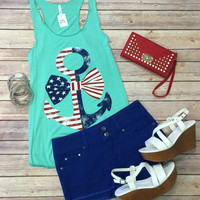 Bow on my Anchor Top: Mint