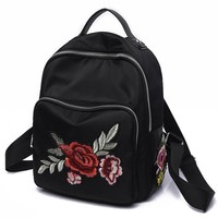 2017 National Style Women Backpacks Rose Flower Embroidery Shoulder Bags Female Handmade Diamond Oxford Leisure Travel Backpacks