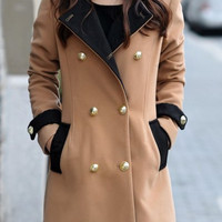 Turn-Down Collar Button Details Woolen Coat